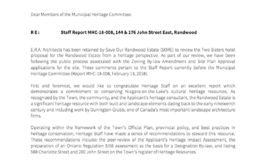ERA Architects to Municipal Heritage Committee Feb 13 2018