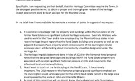 Duff Roman to Municipal Heritage Committee Feb 13 2018