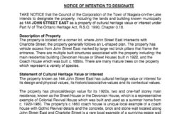 144 John Street East - Notice of Intention